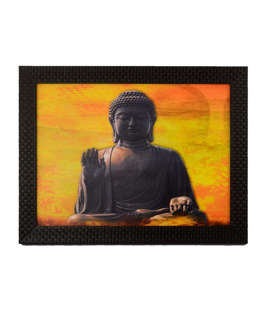 eCraftIndia Brown and Yellow Spiritual Buddha with Satin Matt Texture and Framed UV Art Print