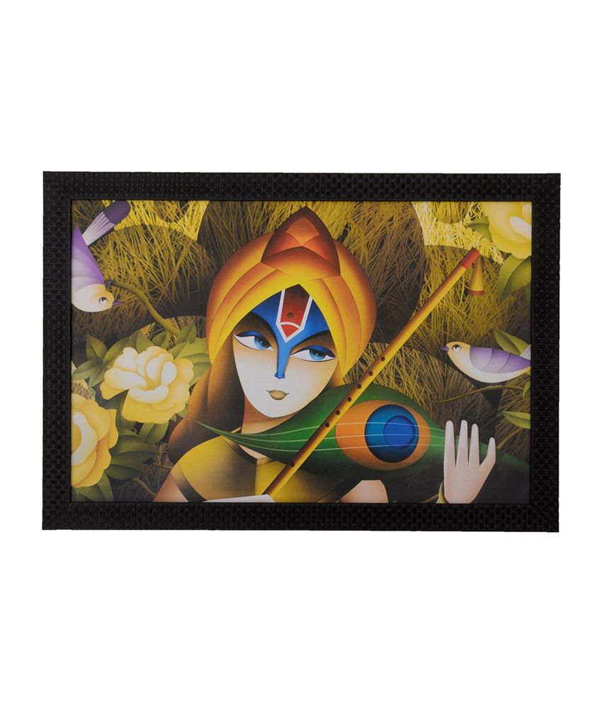 eCraftIndia Lovable Krishna with Satin Matt Texture and Framed UV Art Print
