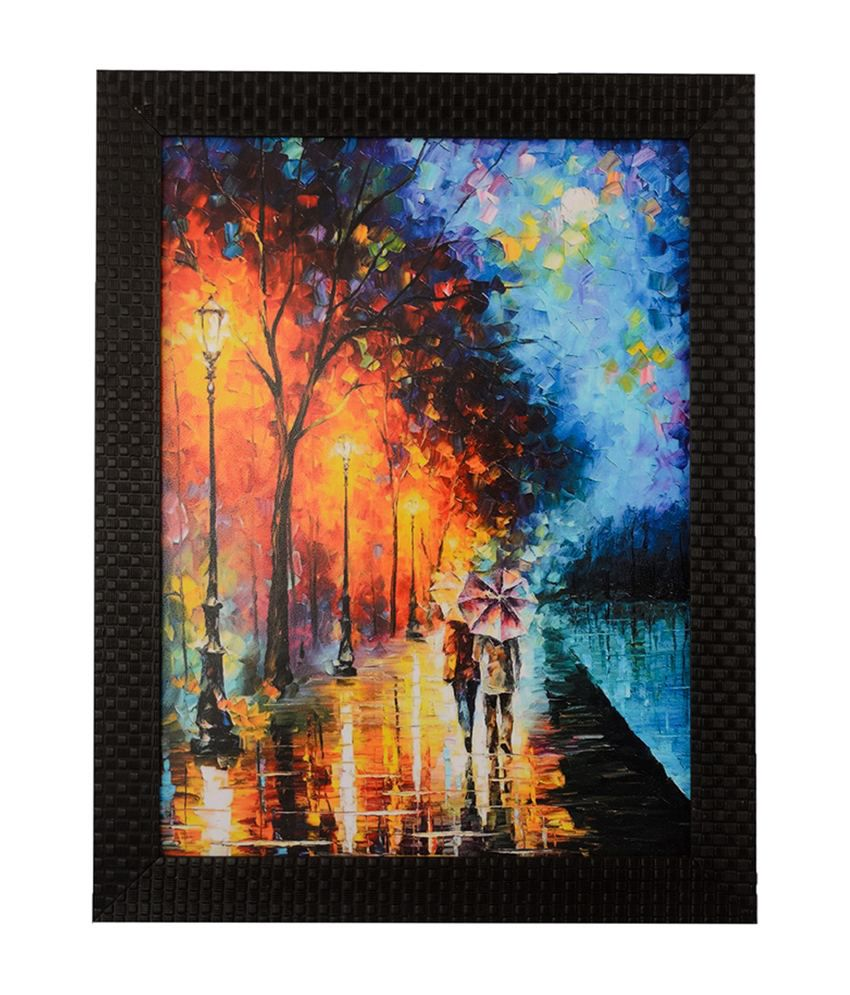 eCraftIndia Love Couple Under Umbrella with Satin Matt Texture and Framed UV Art Print