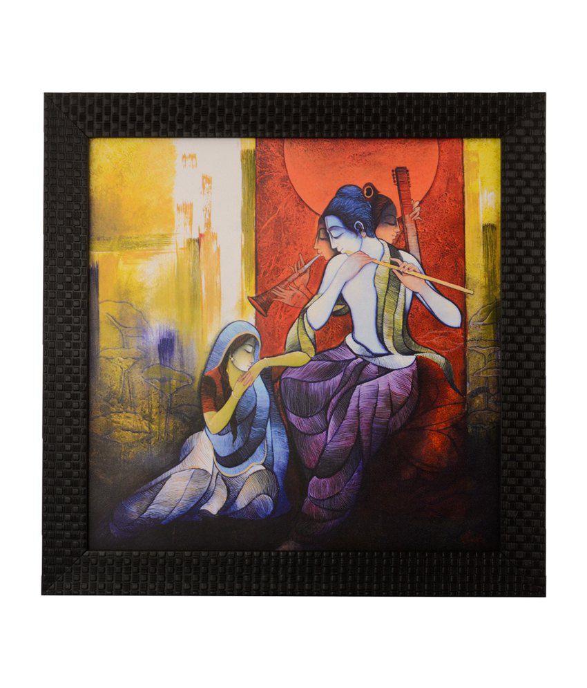 eCraftIndia Radha Krishna enjoying Music with Satin Matt Texture and Framed UV Art Print