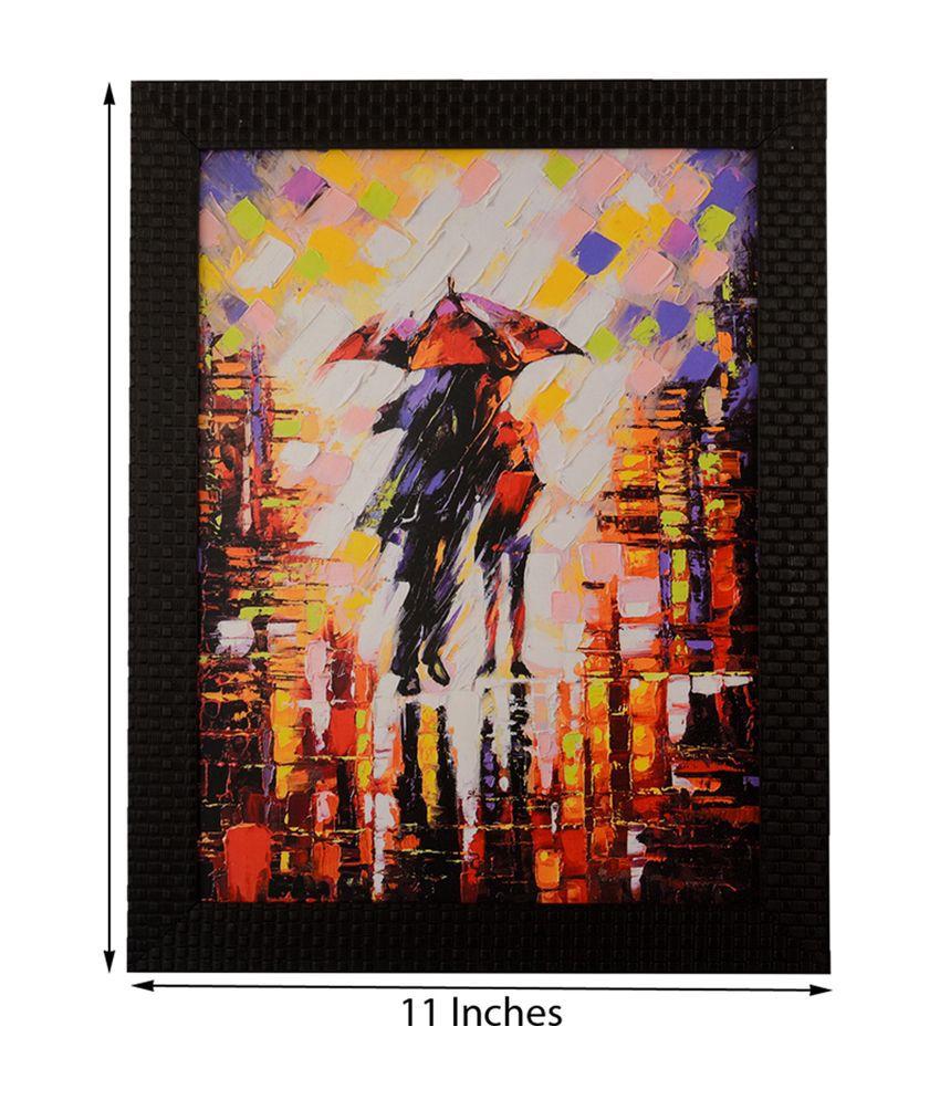 eCraftIndia Rain Scene with Satin Matt Texture and Framed UV Art Print