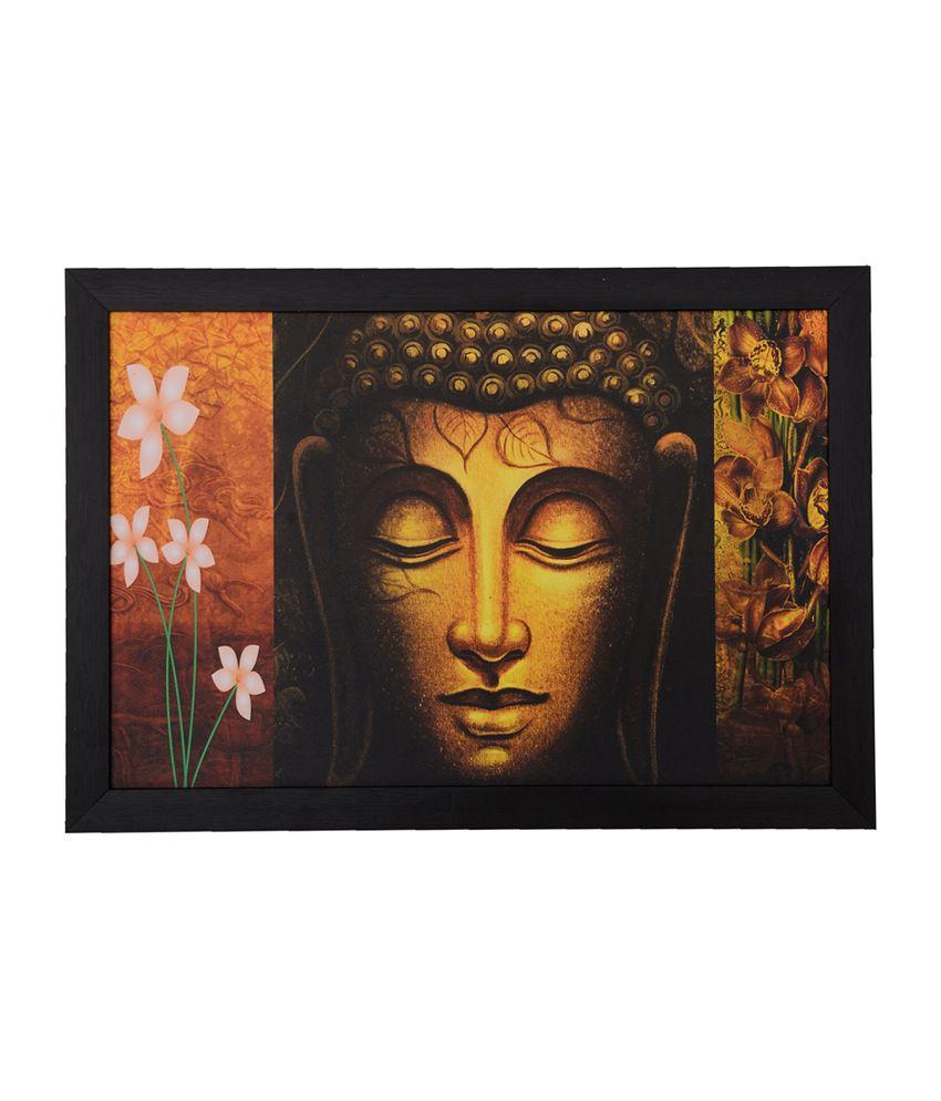 eCraftIndia Spiritual Buddha Head with Satin Matt Texture and Framed UV Art Print
