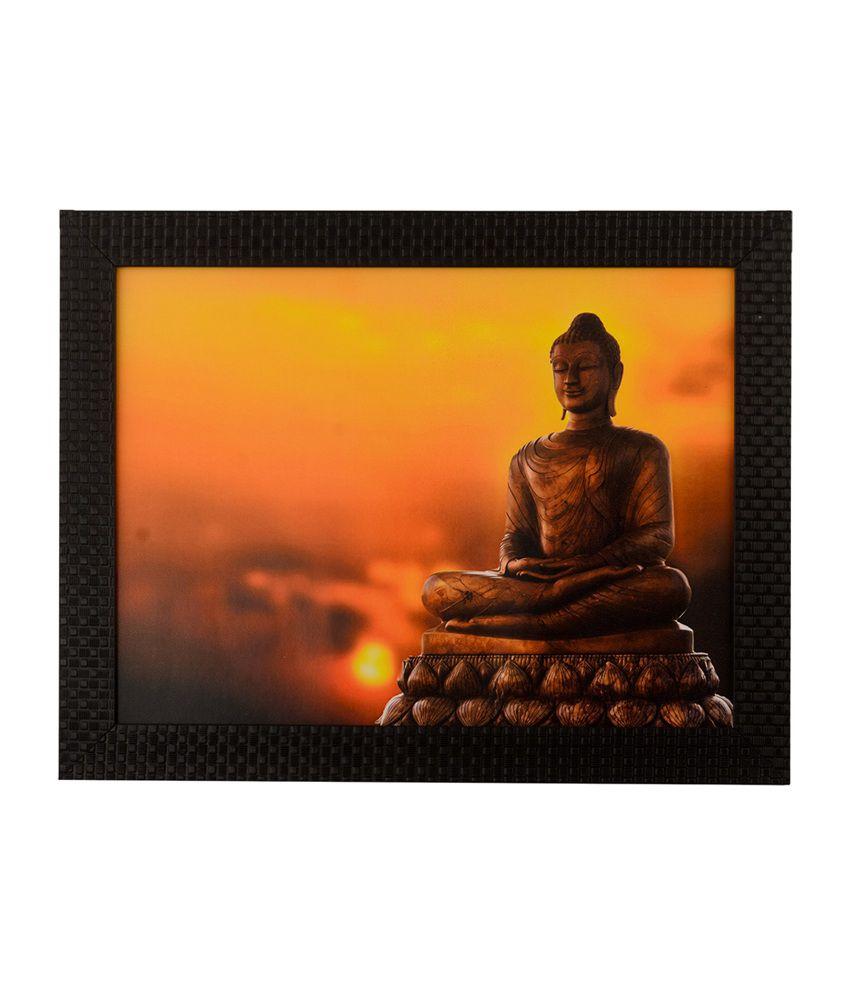 eCraftIndia Spiritual Meditating Buddha with Satin Matt Texture and Framed UV Art Print