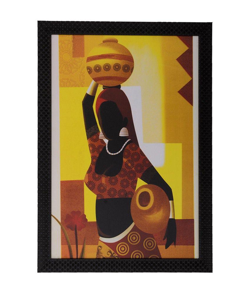 eCraftIndia Village Lady with Satin Matt Texture and Framed UV Art Print