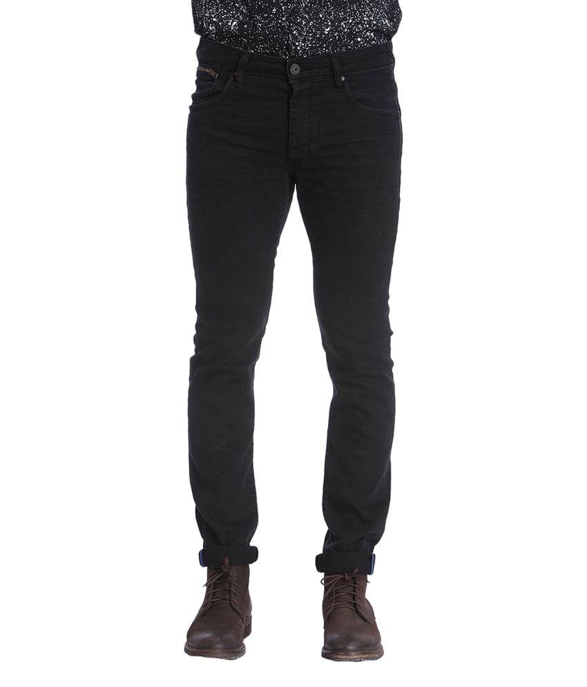 Jack & Jones Black Cotton Slim Fit Men's Jeans