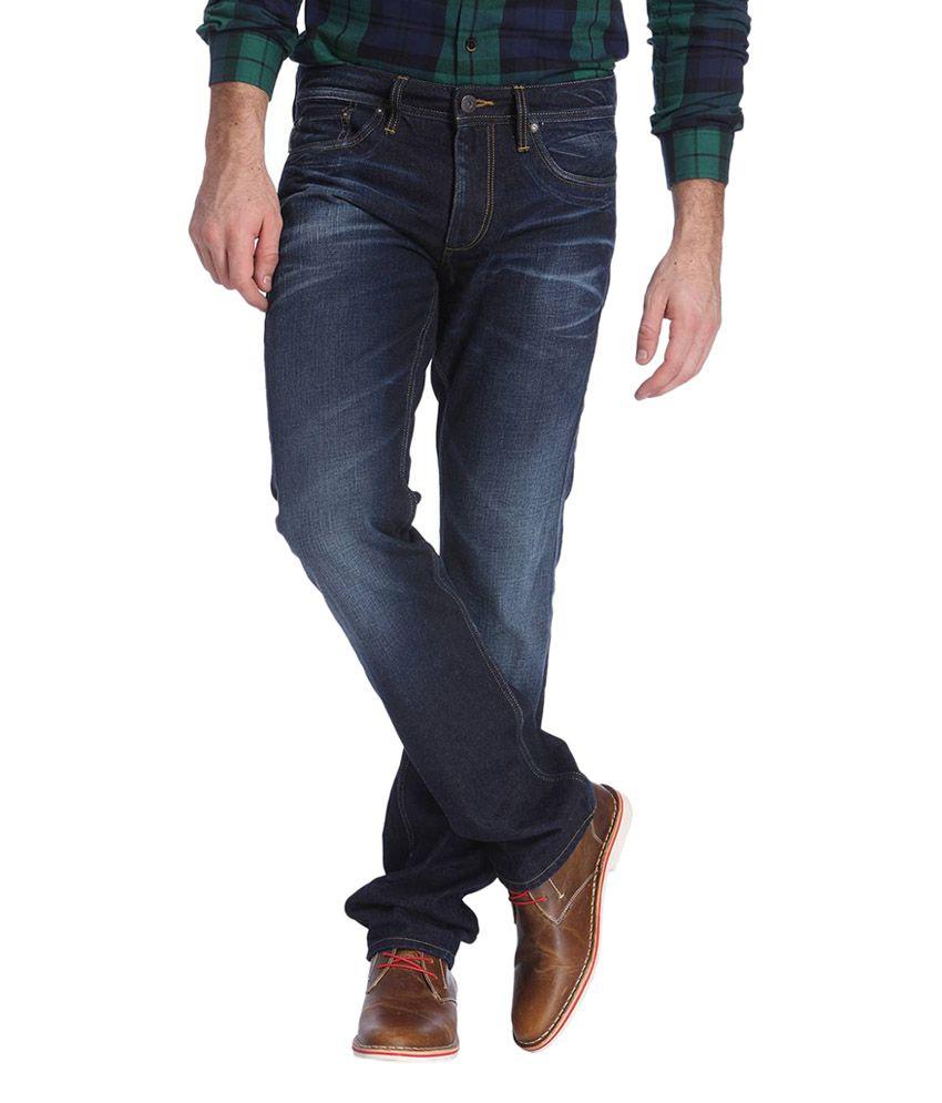 Jack & Jones Dark Blue Cotton Regular Fit Men's Jeans