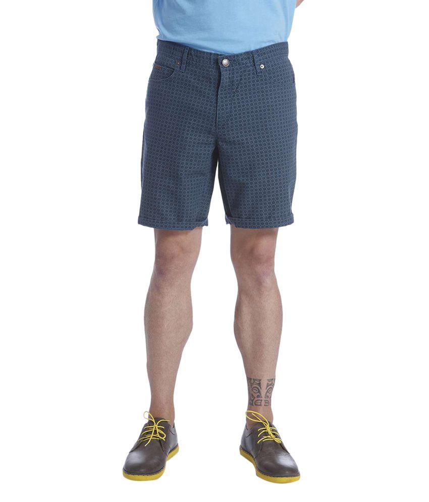 Jack & Jones Navy Blue Cotton Printed Shorts