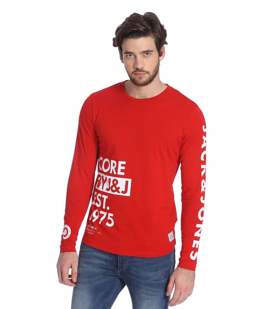 Jack Jones Red Cotton Full Sleeves Men S T Shirt Buy Jack