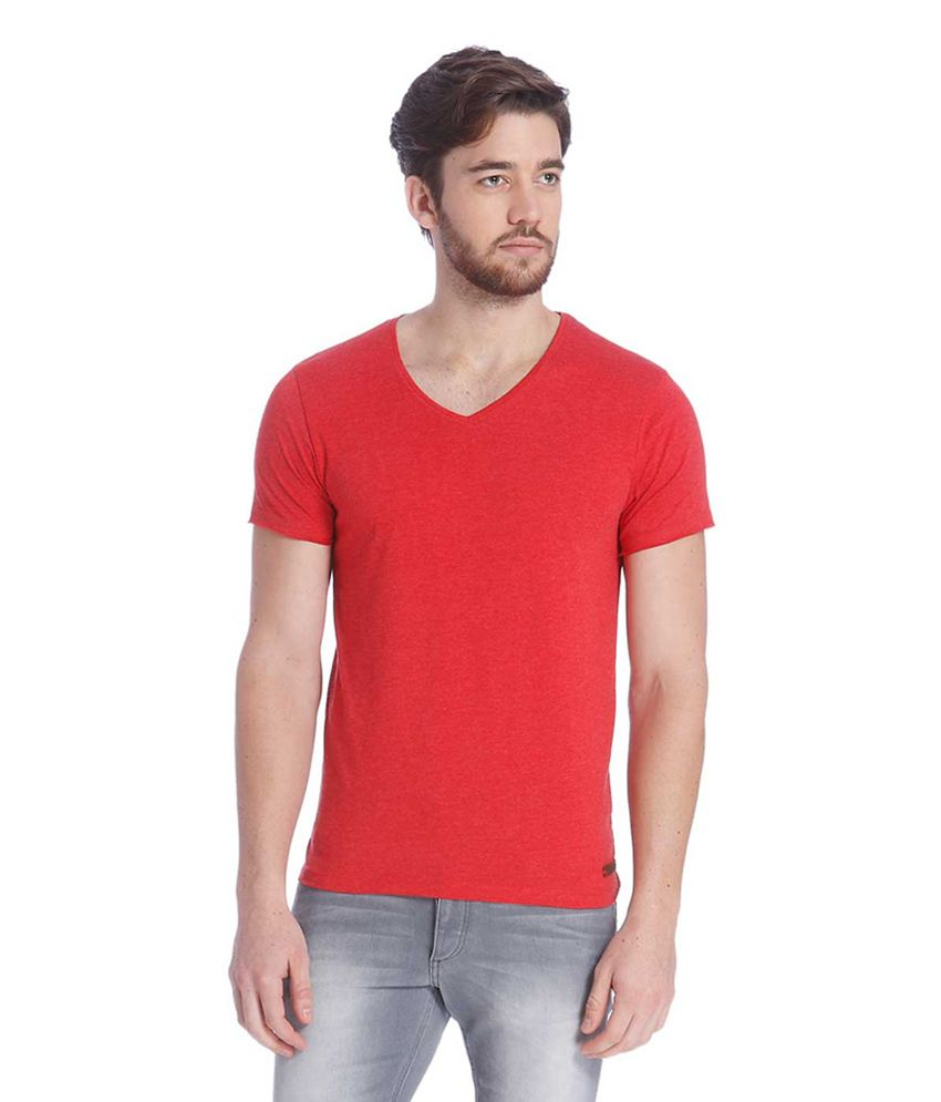 Jack & Jones Red Cotton Half Sleeves Men's T-Shirt