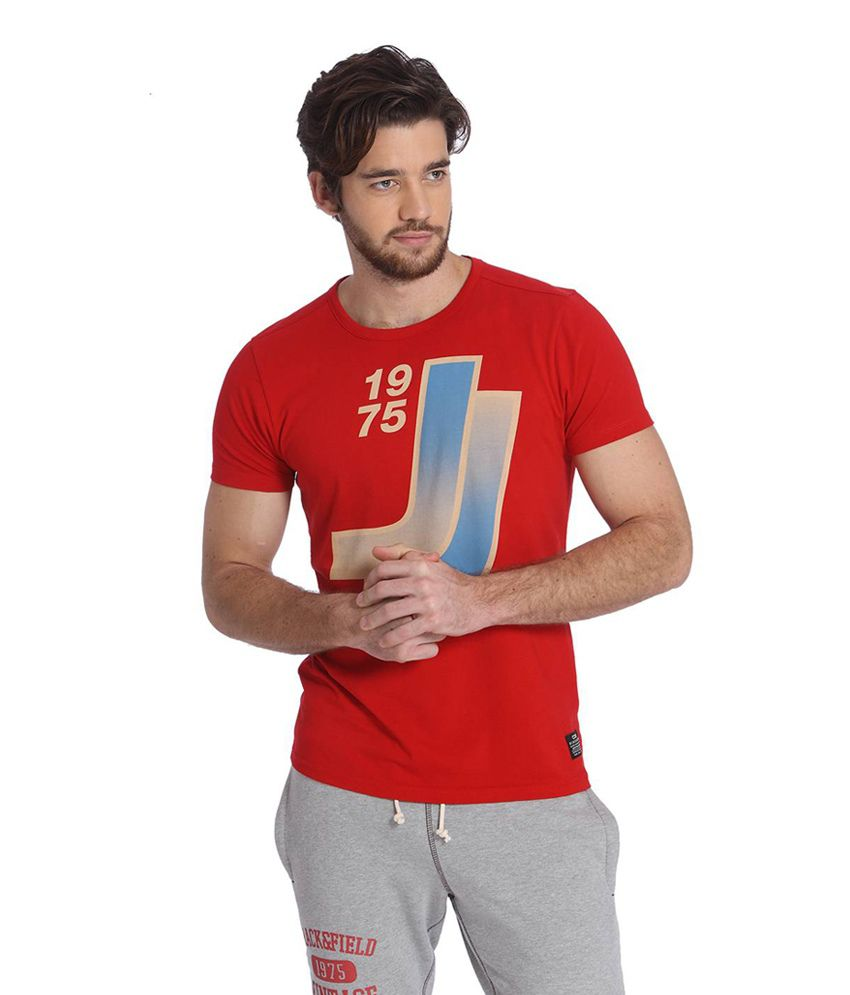Jack & Jones Red Cotton Half Sleeves Men's T-Shirt