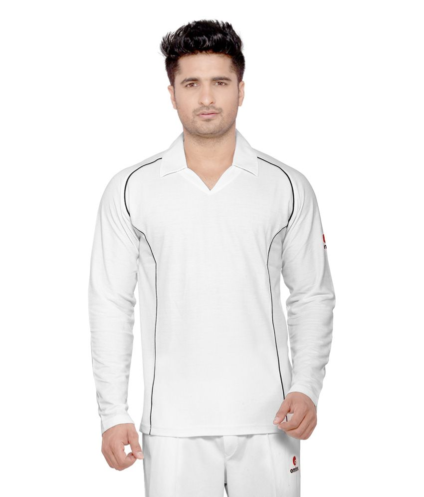 Omtex Full Sleeves Cricket Wear White T-Shirt