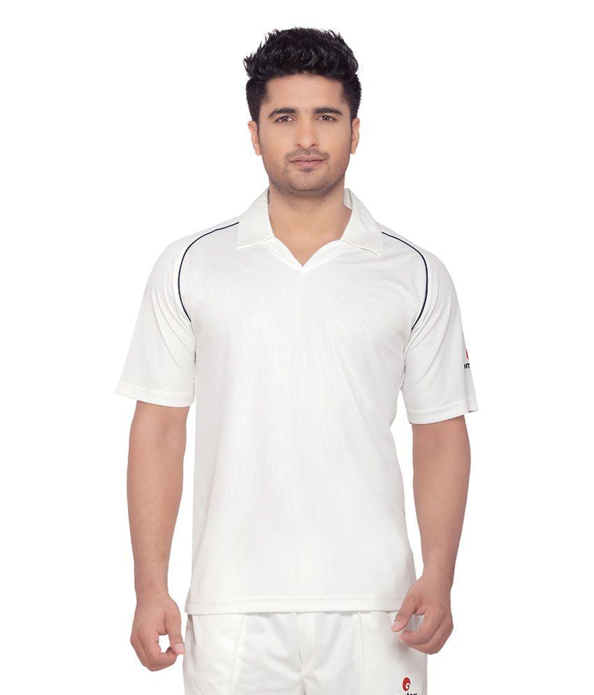 Omtex Half Sleeves Cricket Wear White T-Shirt