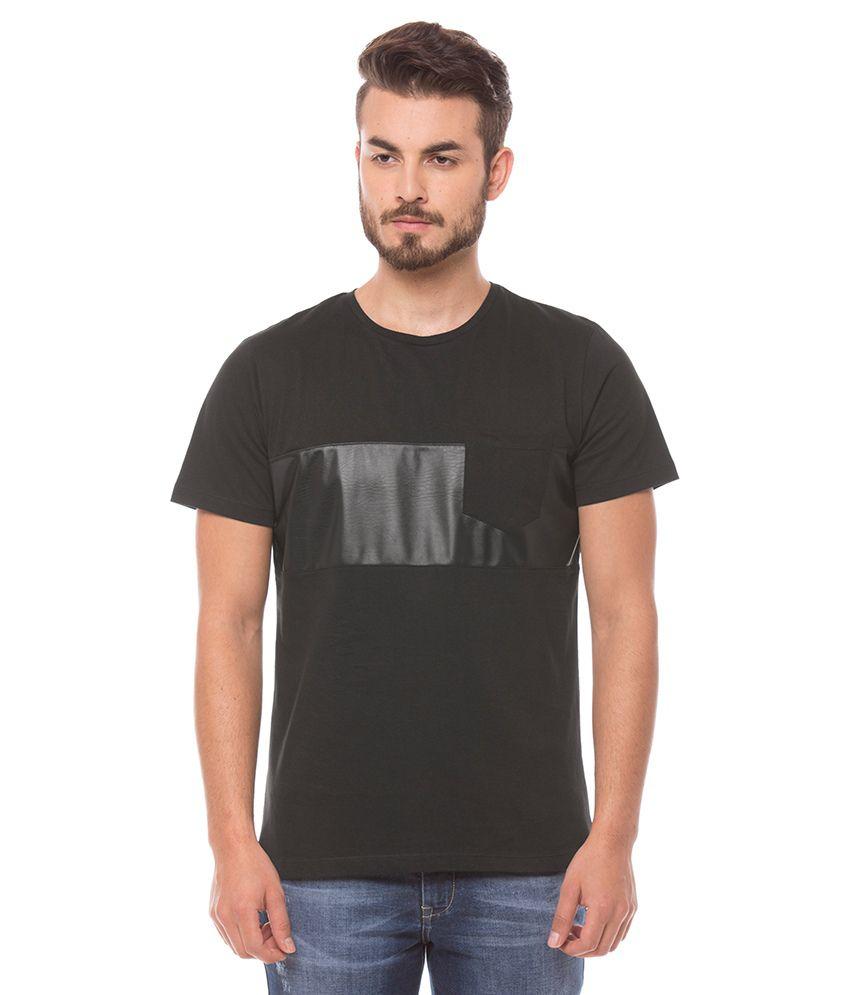 Shuffle Black Round Neck Basics T-Shirt