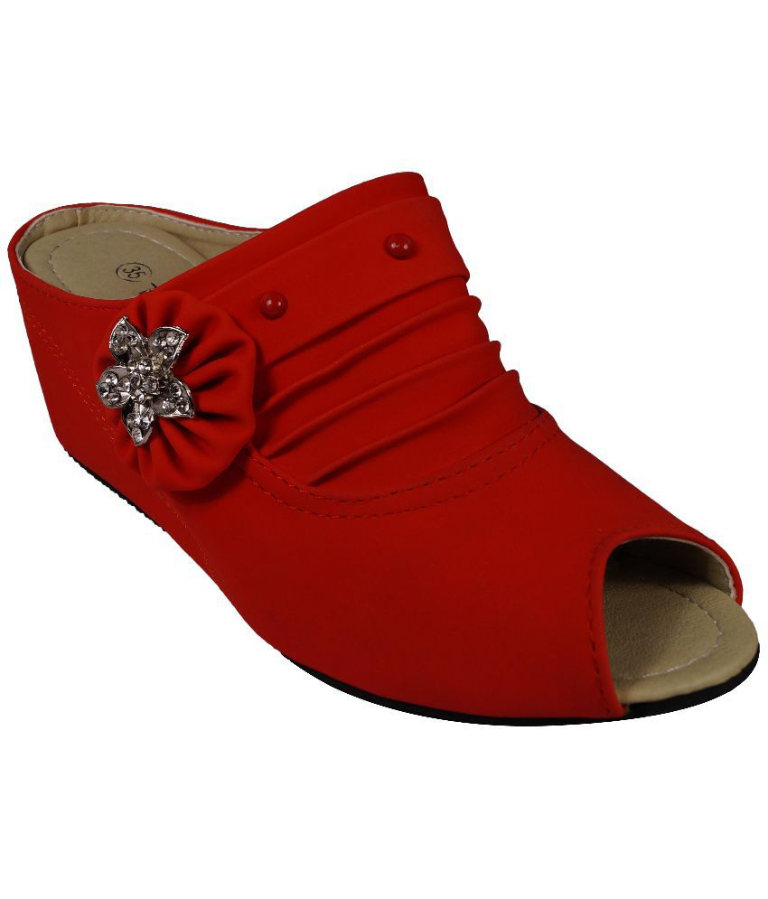 Ladela Red Heeled Slip-ons