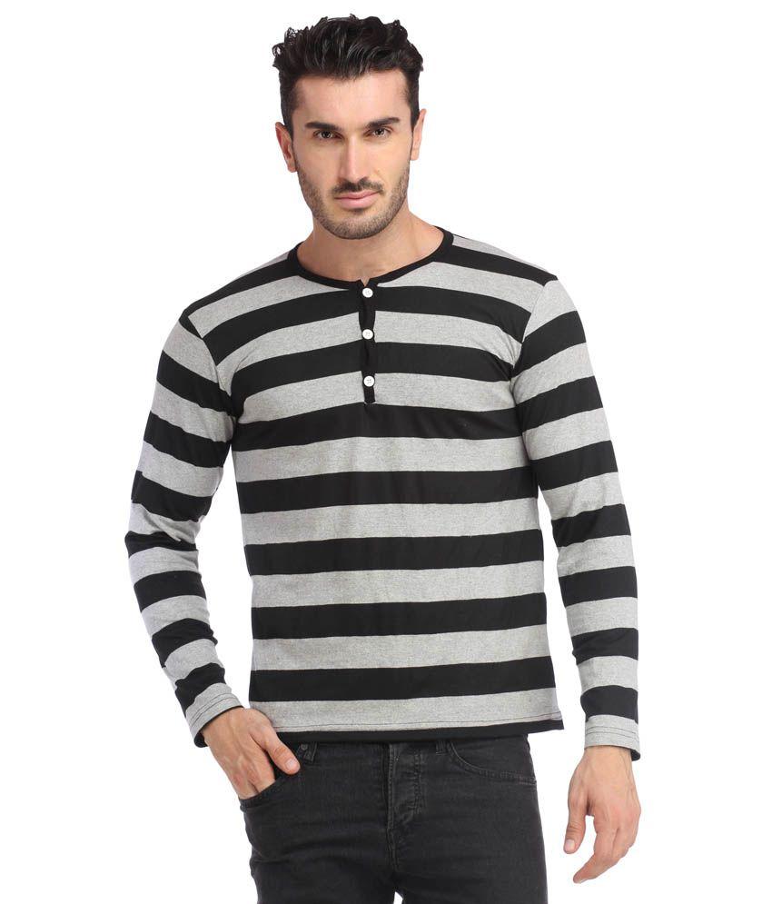 Leana Black-Grey Men Stripe Tshirt