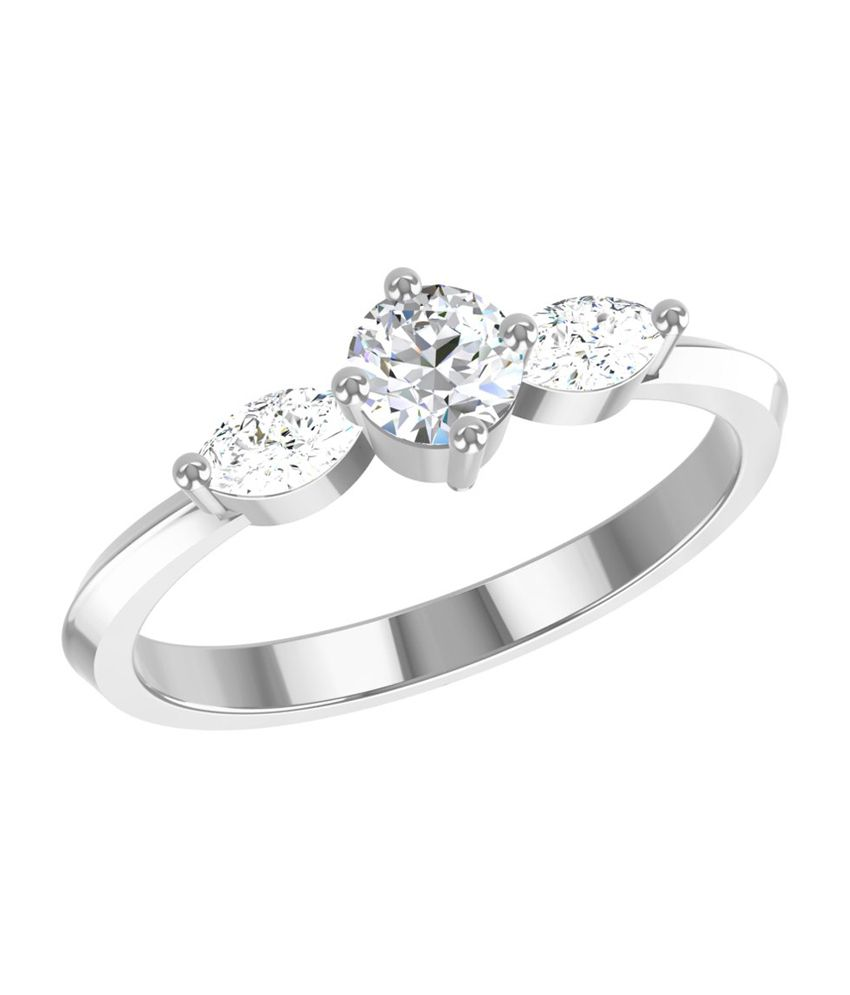 TBZ-The Original 18Kt White Gold Classic Ladies Ring with 0.14cts Diamonds