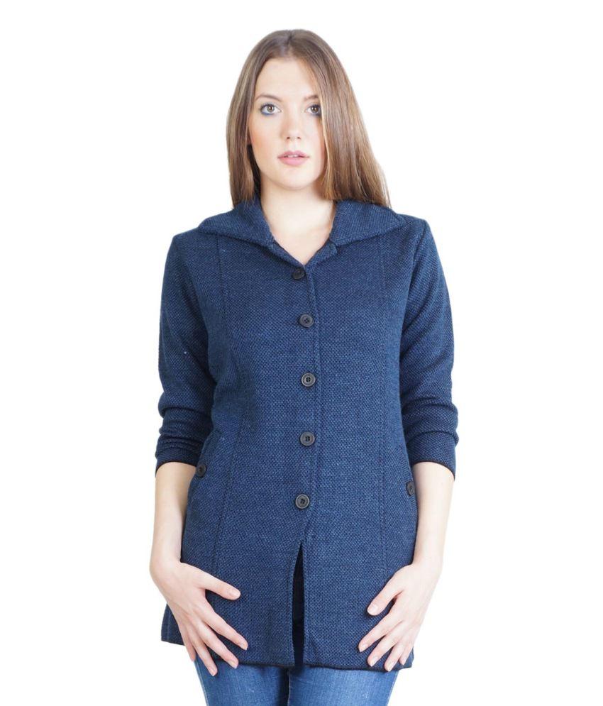 Montrex Navy Woollen Buttoned Cardigans