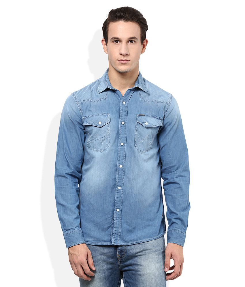 e0748fc6814c Wrangler Blue Washed Shirt - Buy Wrangler Blue Washed Shirt Online at Best  Prices in India on Snapdeal