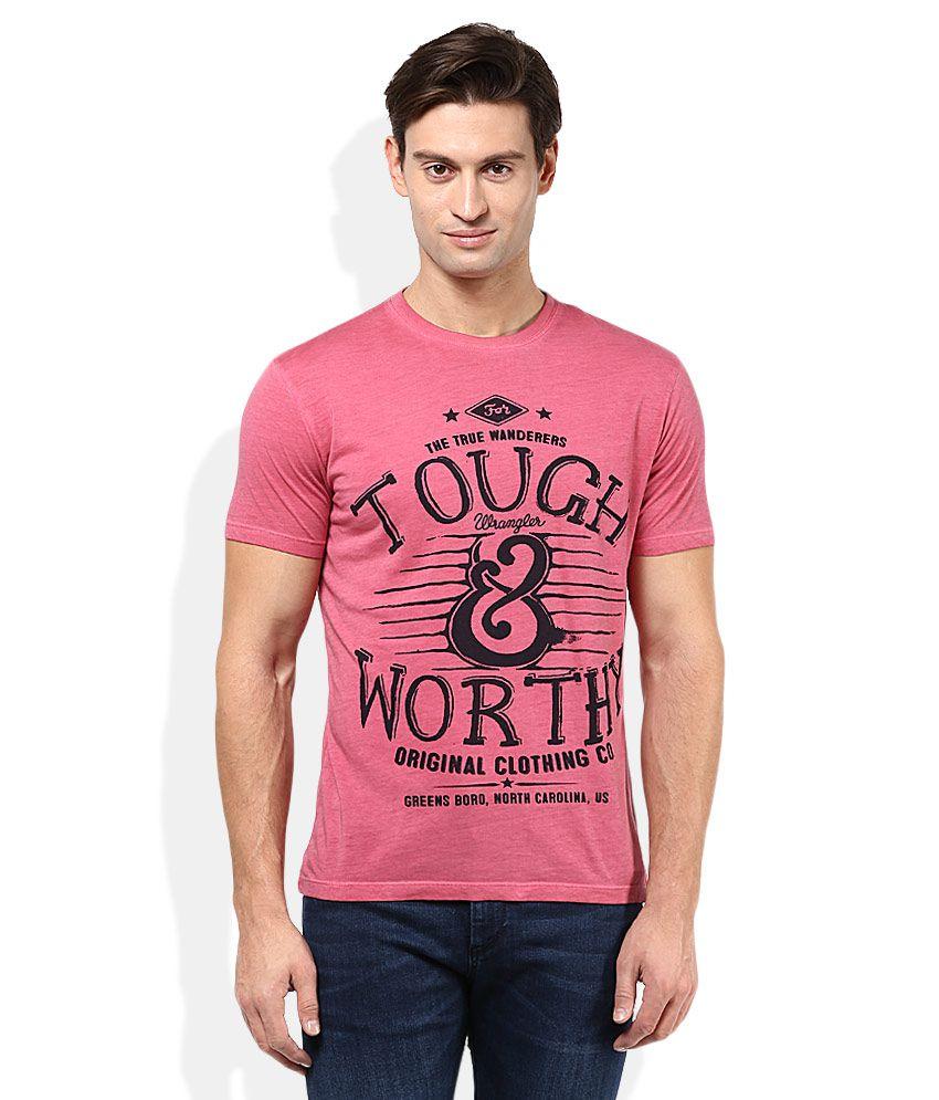 Wrangler Coral Pink Printed Round Neck T-Shirt