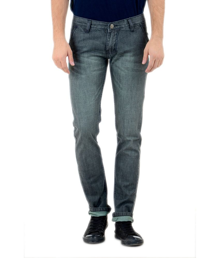 Denim 86 Grey Cotton Blend Slim Fit Jeans