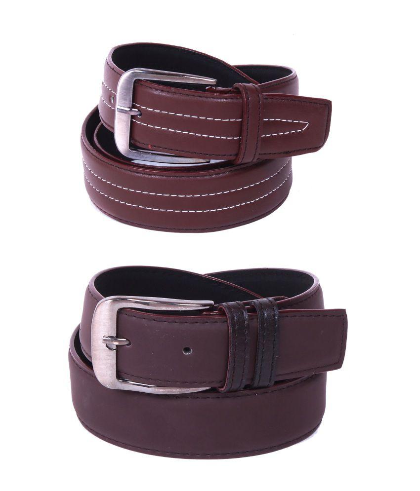 Calibro Multicolour Formal Belt For Men - Set Of 2
