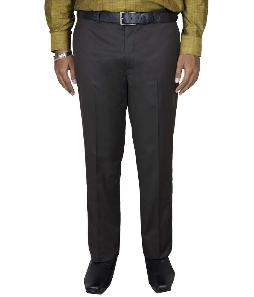 Kinger Brown Regular Fit Formal Flat Trouser