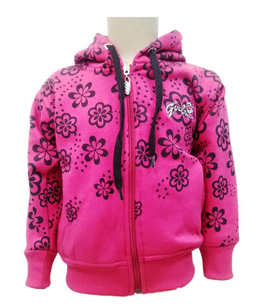 Come In Kids Pink Fleece Sweatshirt With Hood