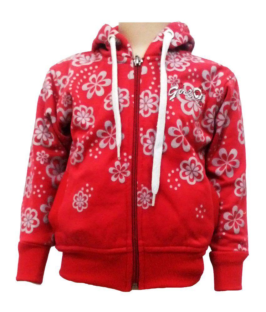 Come In Kids Red Fleece Sweatshirt With Hood