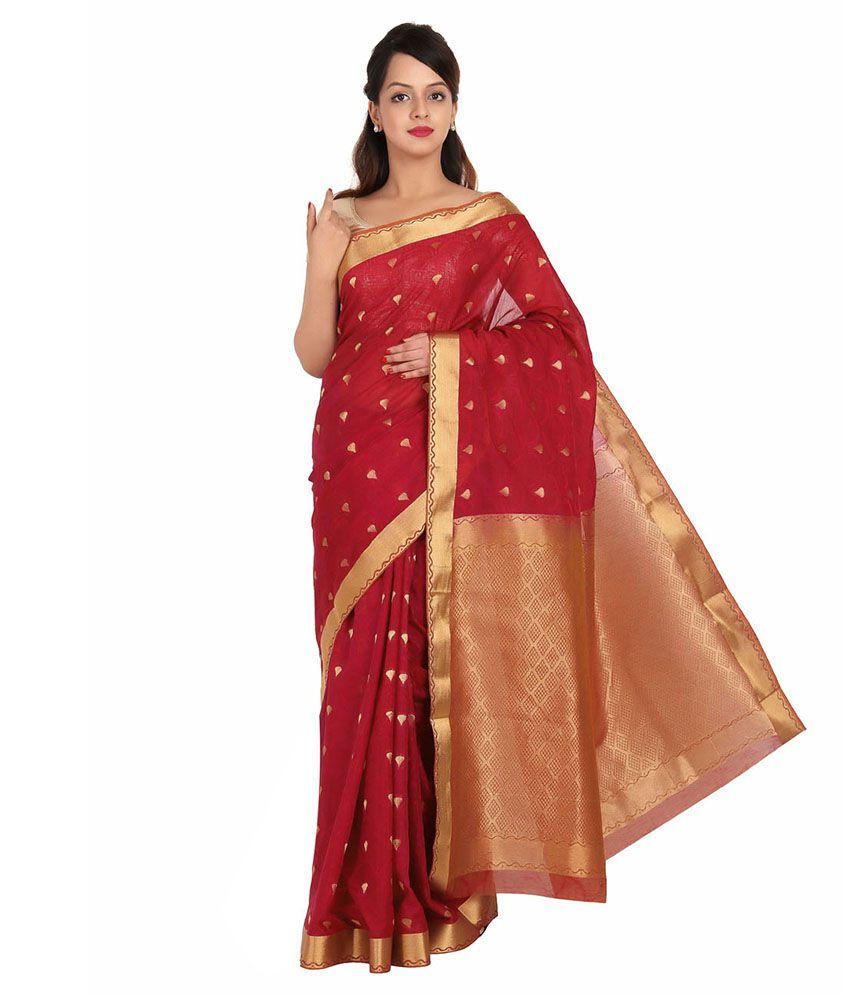 Pratami Red Silk Saree