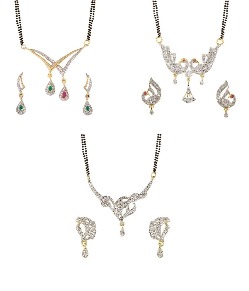YouBella American Diamond Mangalsutra & Earrings - Set of 3