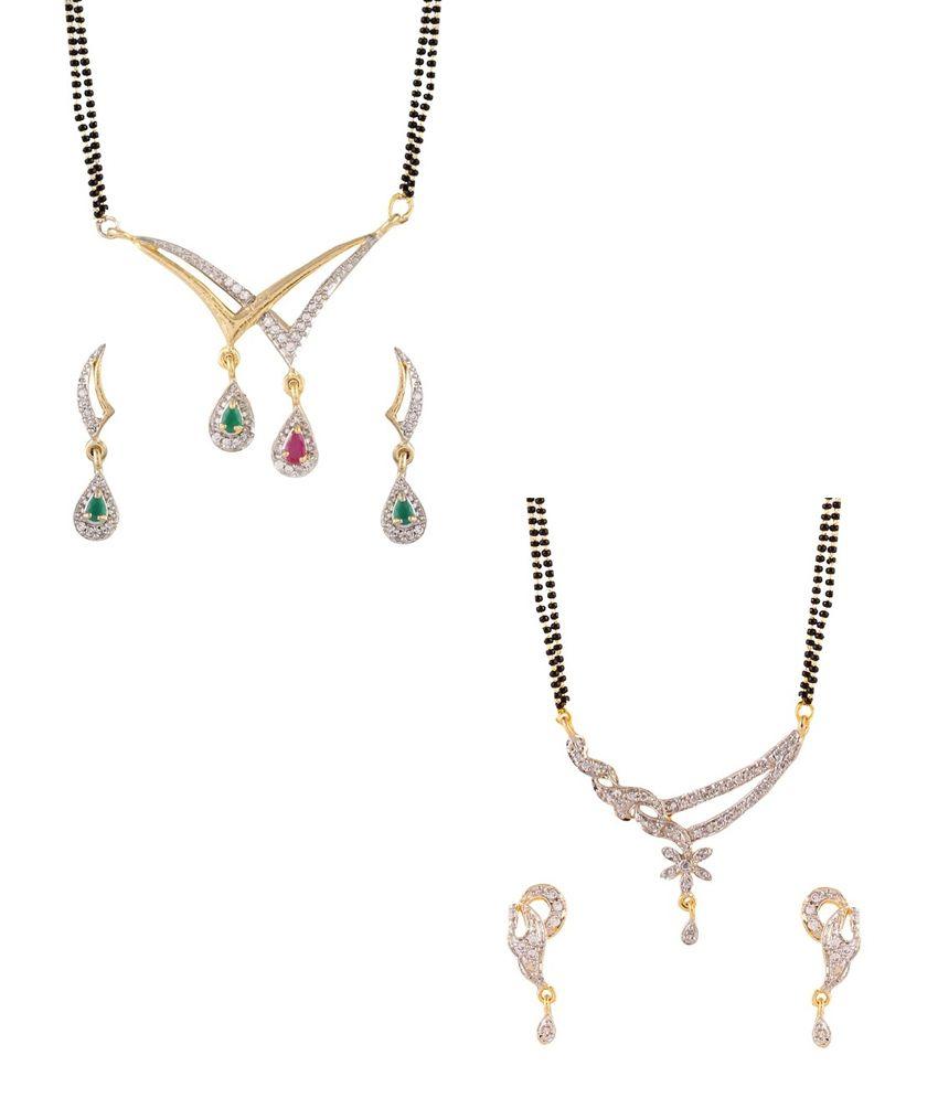YouBella American Diamond Mangalsutra & Earrings - Set of 2