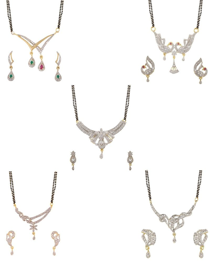 YouBella American Diamond Mangalsutra & Earrings - Set of 5