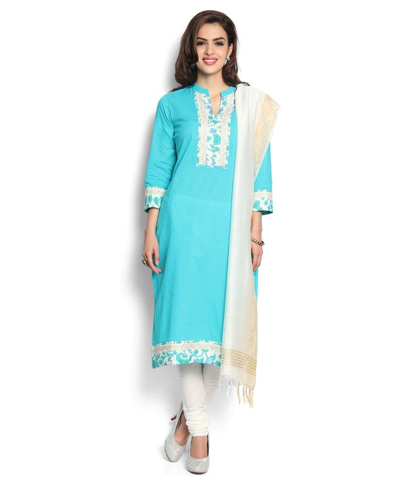 Soch Turquoise Cotton Stitched Suit