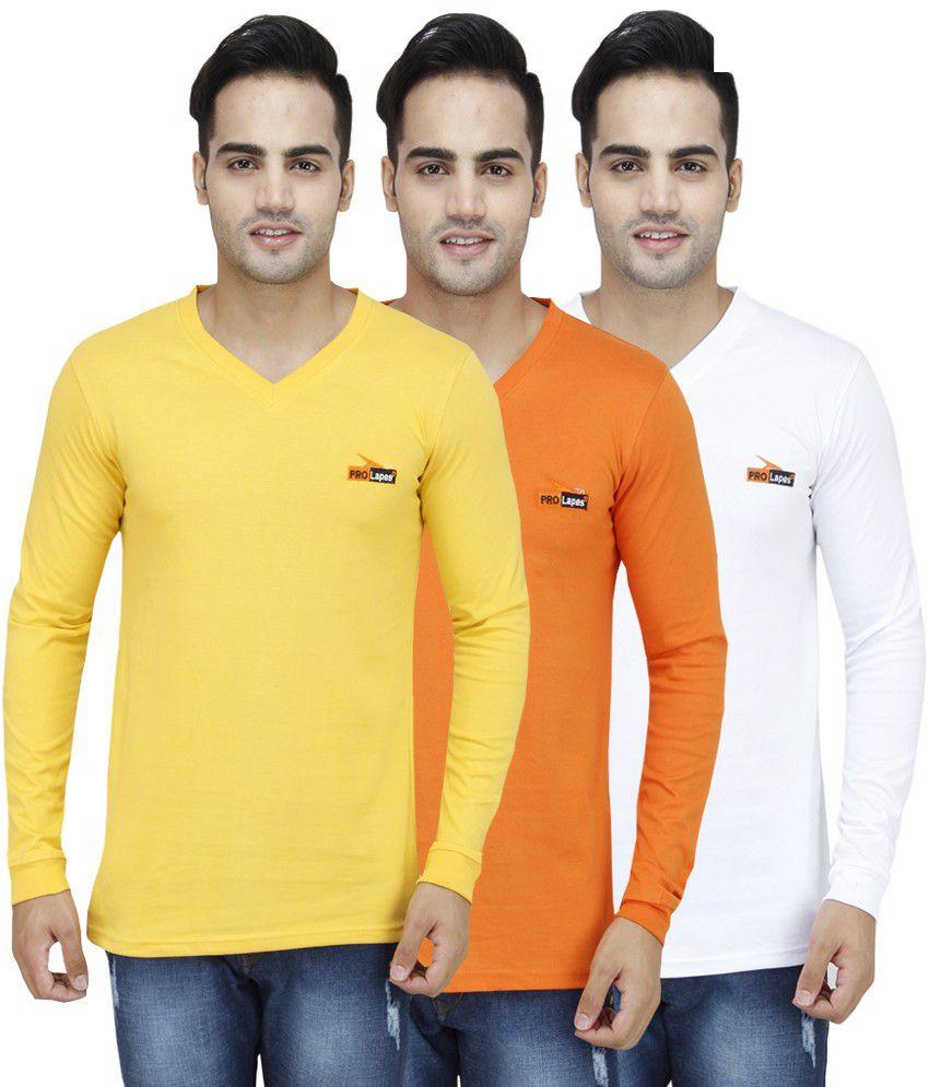 PRO Lapes Multicolor Cotton T - Shirt - Set of 3