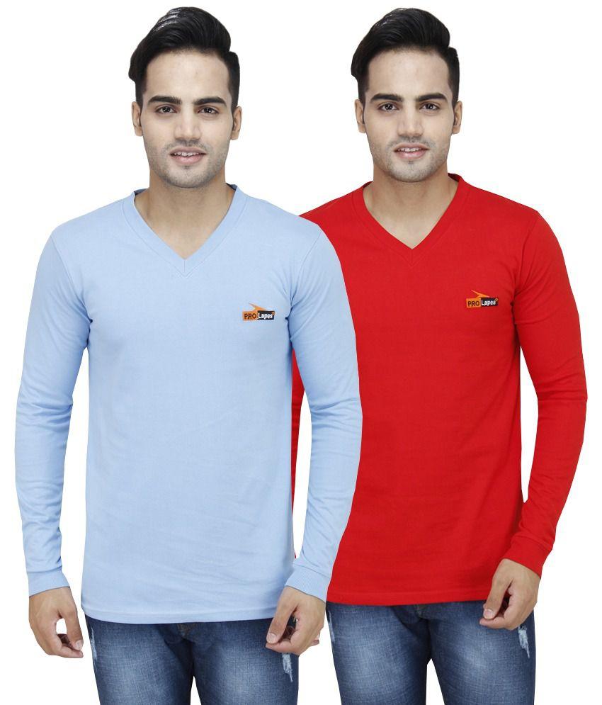 PRO Lapes Multicolor Cotton T - Shirt - Set of 2