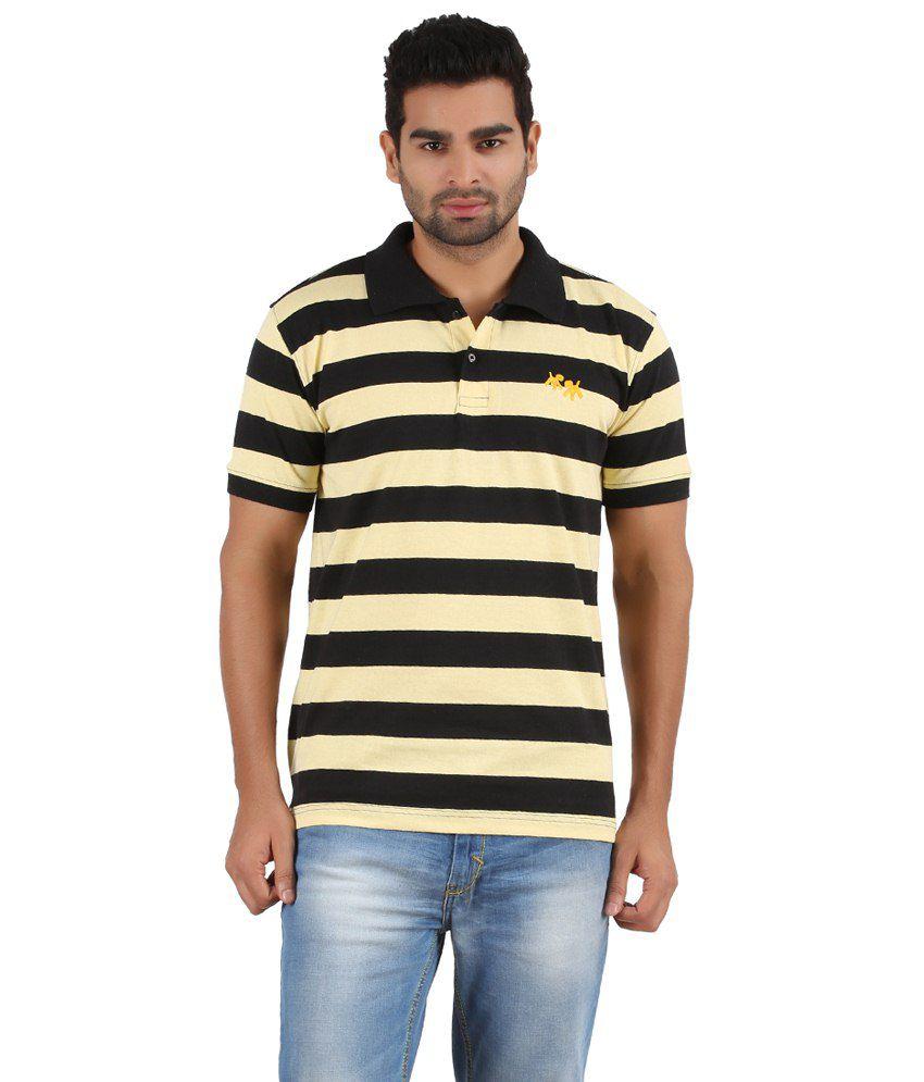 Powbow Yellow & Black Cotton Blend Polo T-shirt
