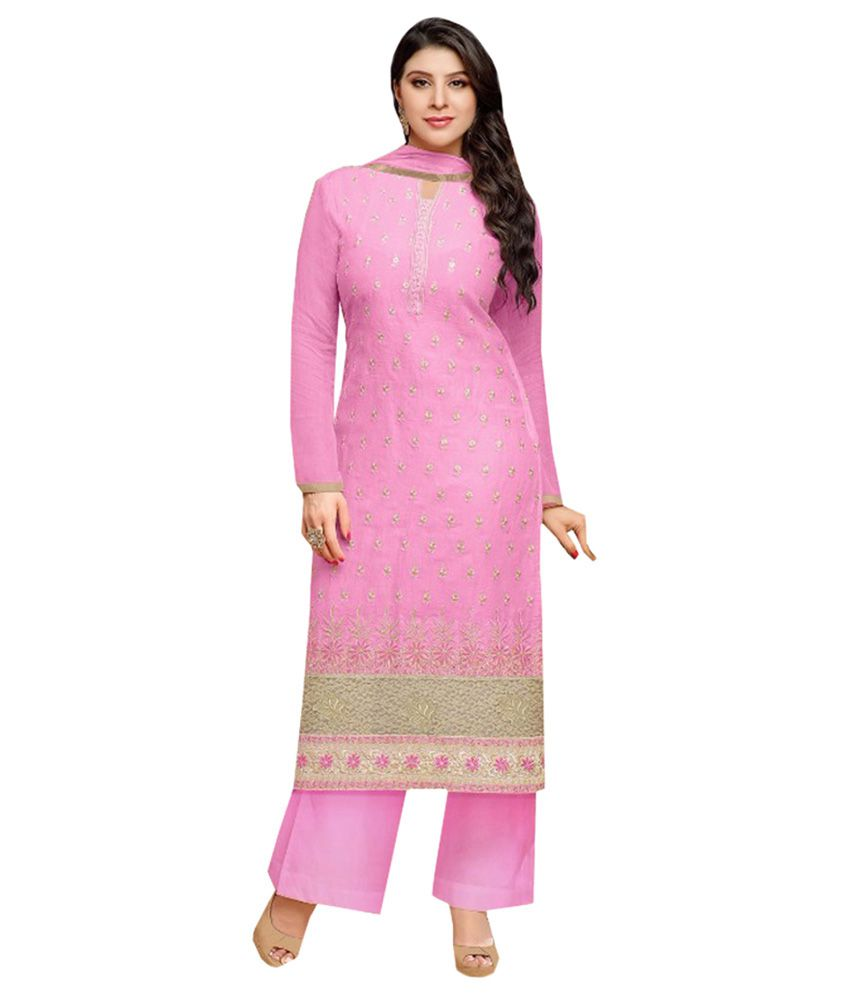 Sthri Multicoloured Georgette Straight Unstitched Dress Material