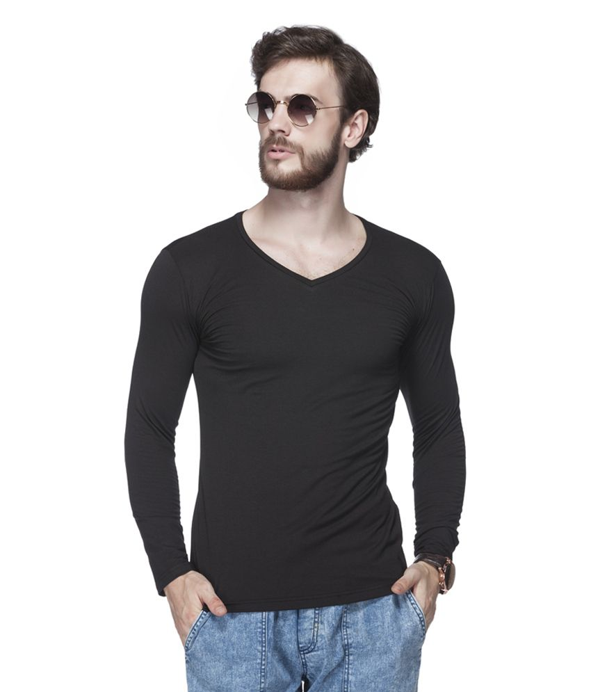 Tinted Black Cotton Blend Solid Men's T-Shirt