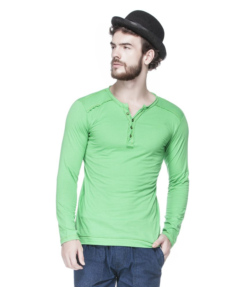 Tinted Green Cotton Blend Solid Men's T-Shirt