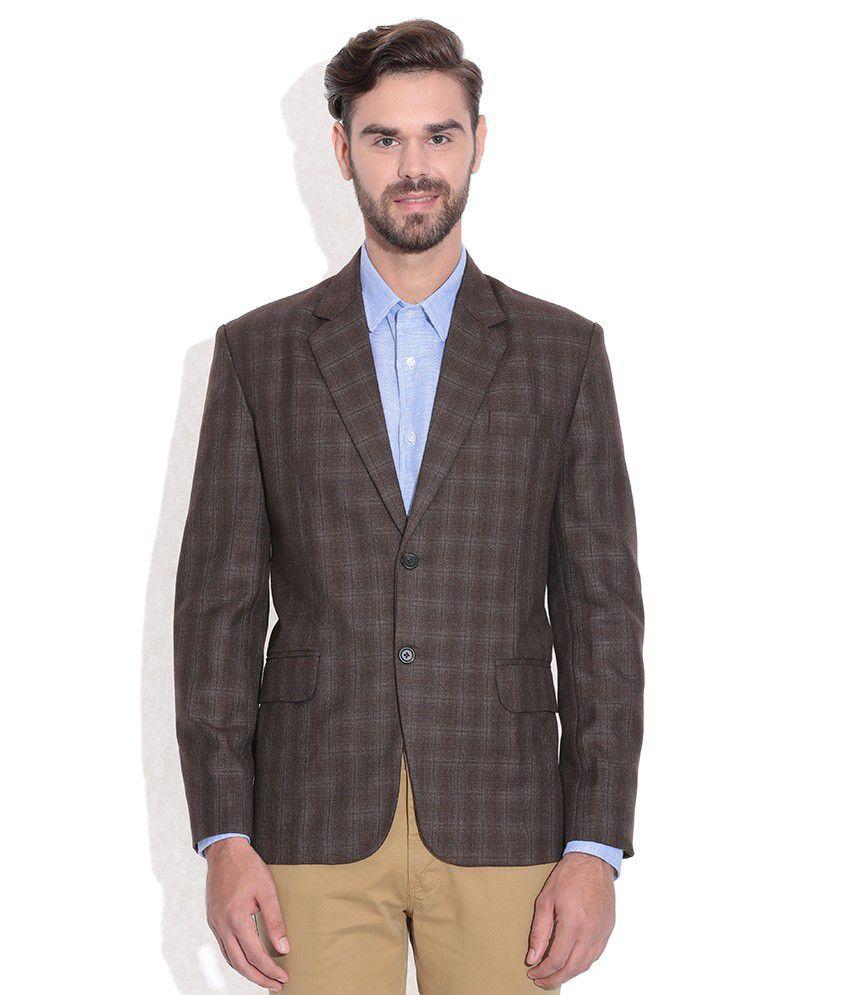 Tribes India Brown Checkered Woollen Blazer
