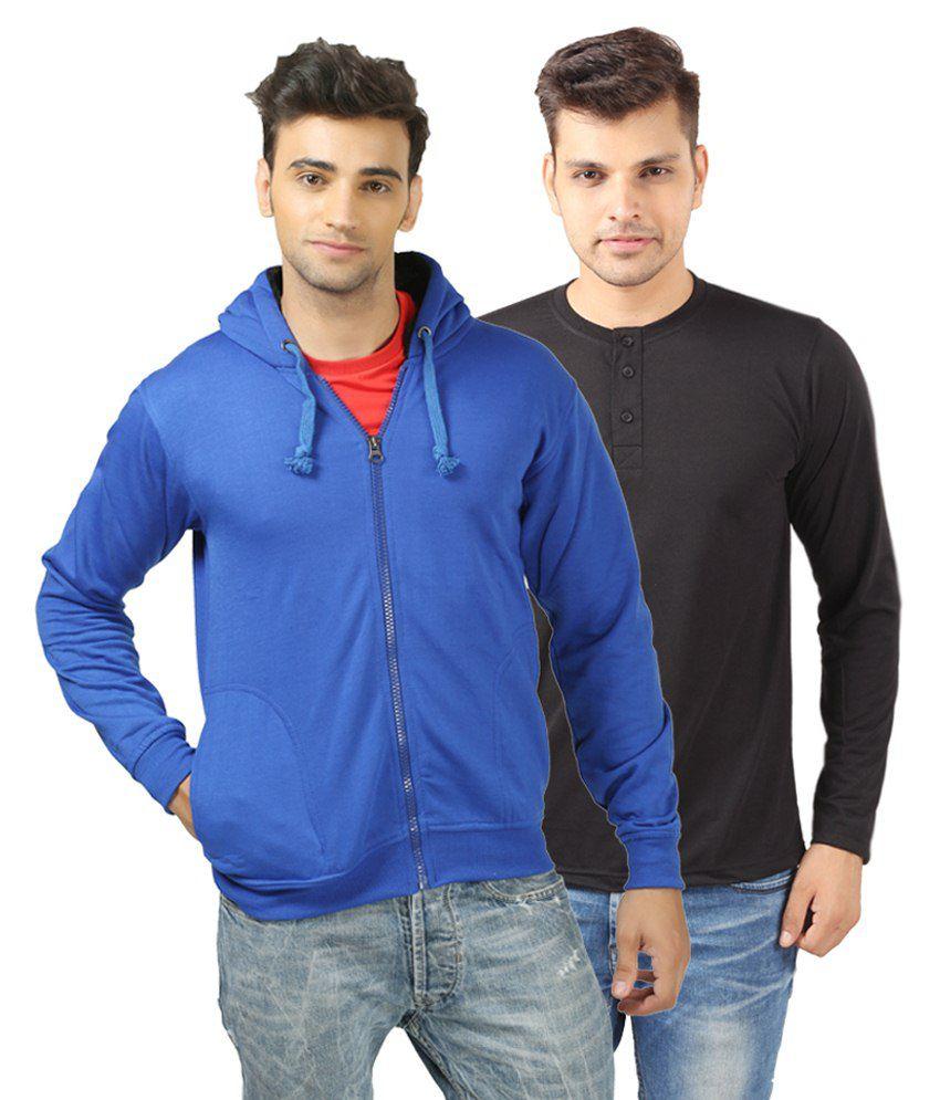 Etoffe Multicolour Cotton Blend Henley T Shirt With Sweatshirt
