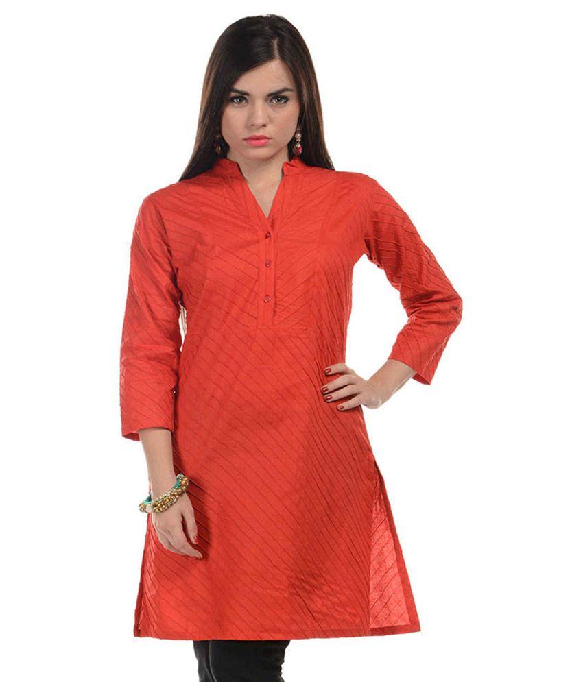 Harshaya-g Orange Cotton Kurti