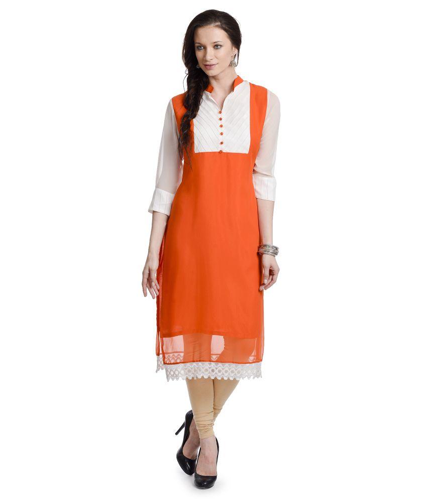 Urbane Woman Orange Pure Georgette Kurti