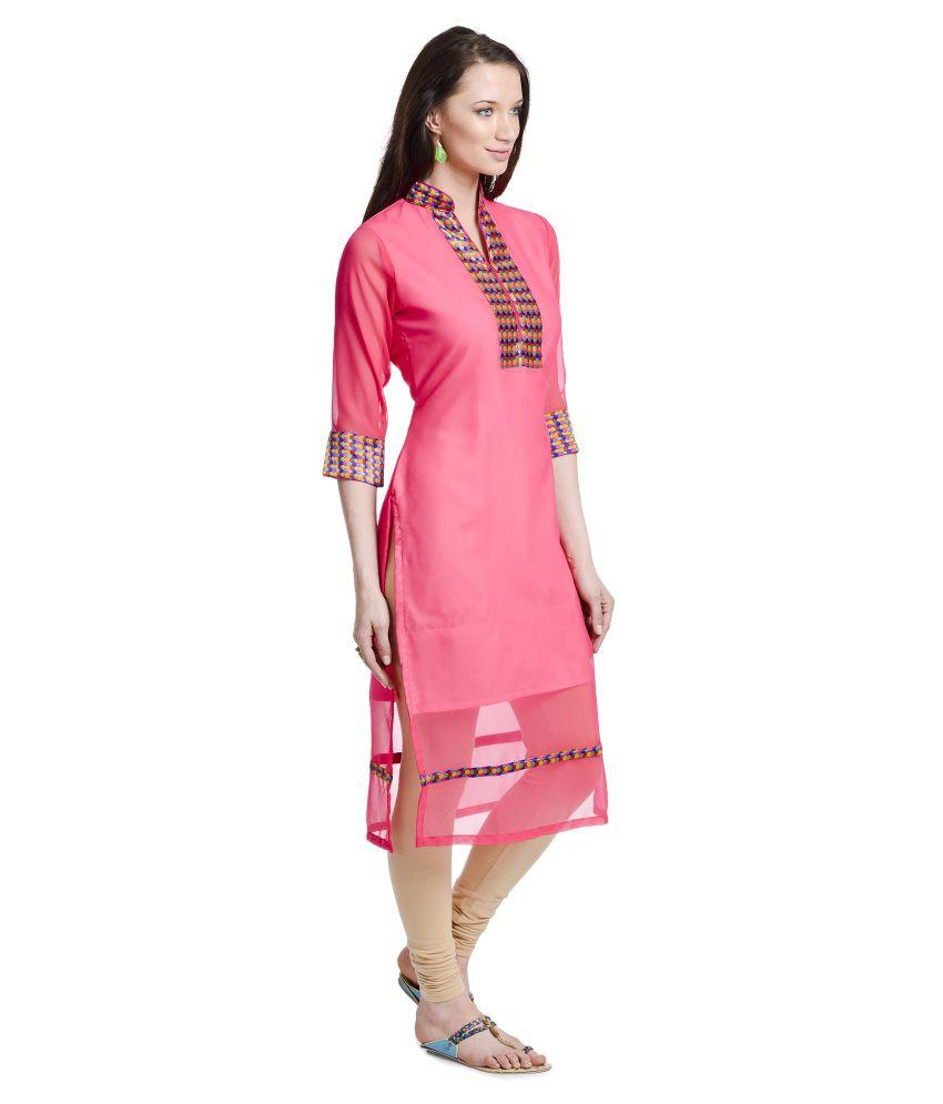 Urbane Woman Pink Pure Georgette Kurti