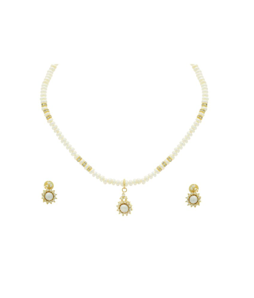 6800e2b463a Hyderabad Jewels Natural Fresh water pearls necklace set available at SnapDeal  for Rs.1149