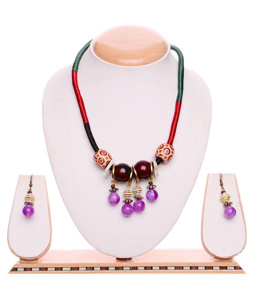 Igenie Purple Floral Contemporary Necklace Set