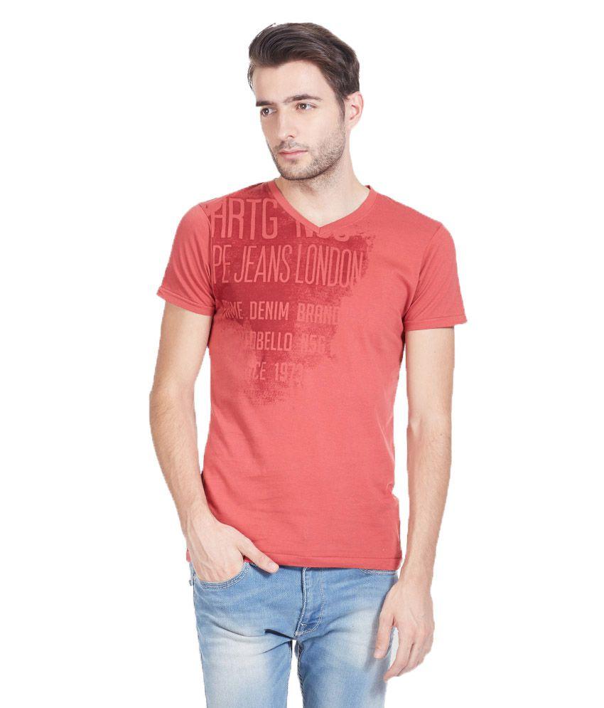 Pepe Jeans Peach Cotton T-Shirt