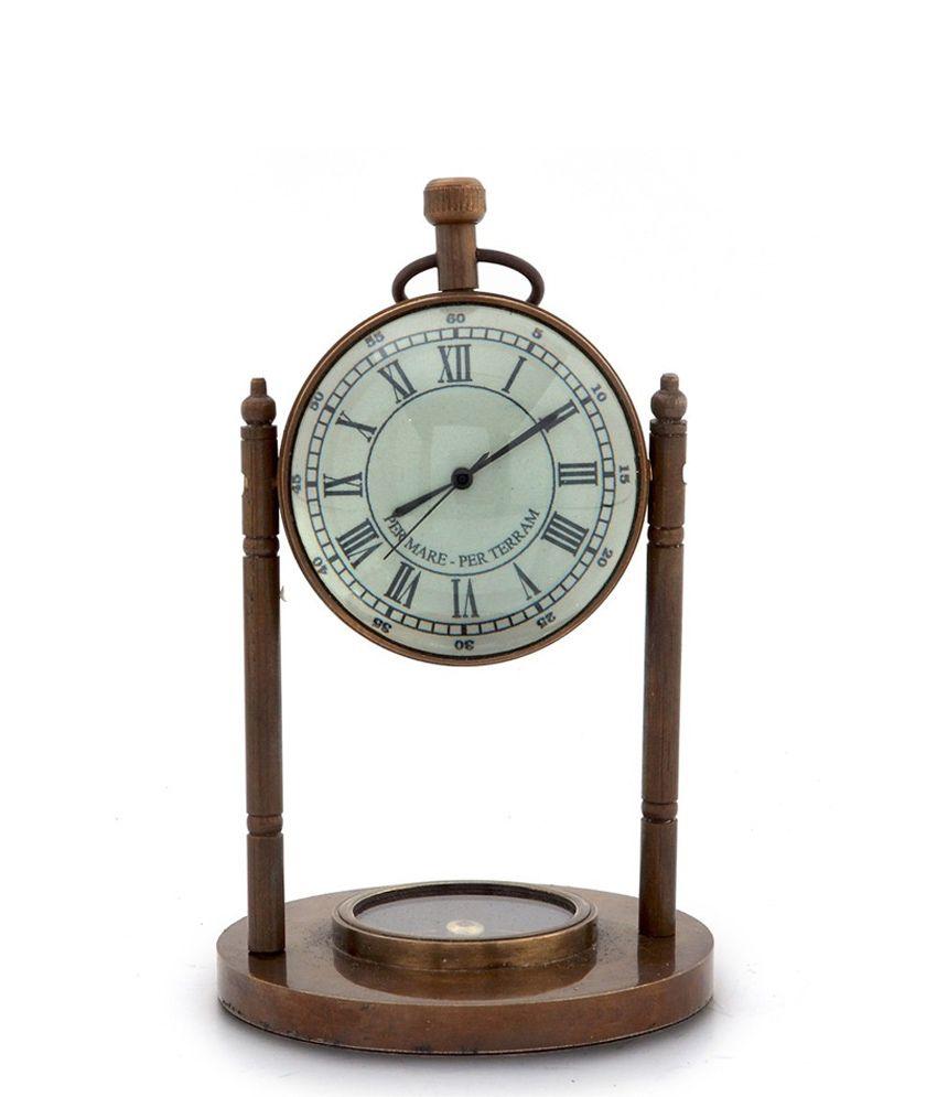 Shree Sai Handicraft Brown Brass Table Antique Clock & Compass Pure Gift