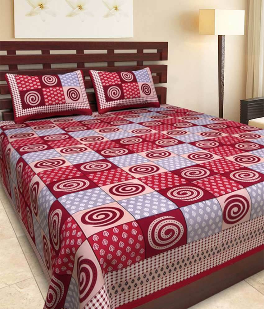 UniqChoice Multicolour Traditional Cotton Double Bedsheet With 2 Pillow Cover