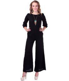 Sassafras Black Poly Crepe Jumpsuits